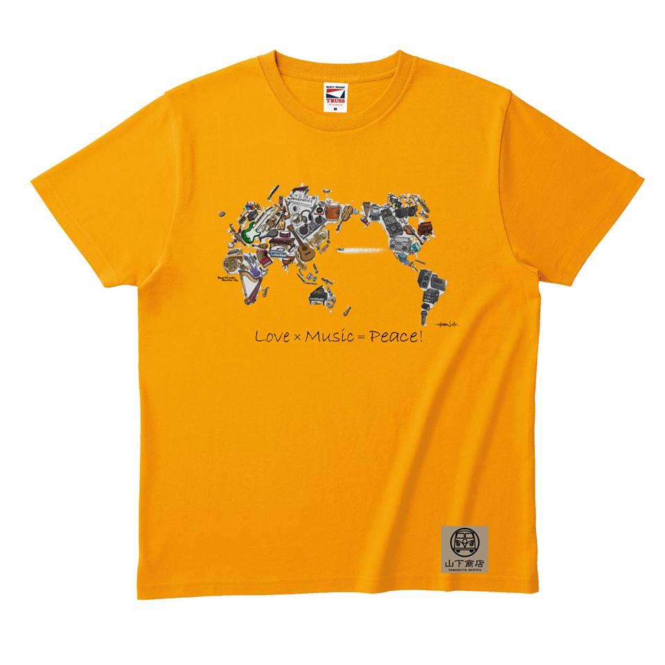大人気!Love×Music=Peace! Tシャツ オレンジ