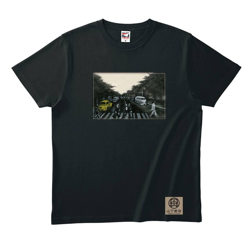 手書き感覚がかっこいい!ビートルファンTシャツ 黒