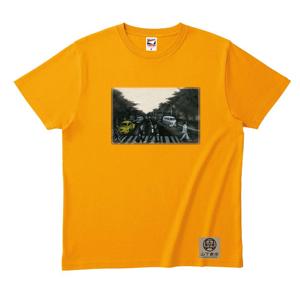 手書き感覚がかっこいい!ビートルファンTシャツ オレンジ